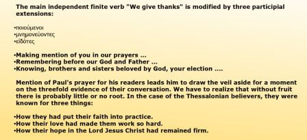 There Are Other Finite Verbs In The Paragraph Marked In Green But They Are Not Main Verbs The Main Verb We Give Thanks Is Then Expanded In A Series Of